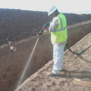 TerraThane being sprayed as pipe pillows Nevada